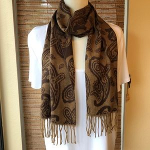 🍁Cozy Long Brown Paisley Scarf